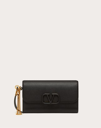 Valentino Vsling Grainy Calfskin Pouch With Shoulder Strap Women Black 100% Pelle Di Vitello - Bos Taurus OneSize