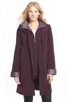 Gallery Women's Two Tone Long Silk Look Raincoat