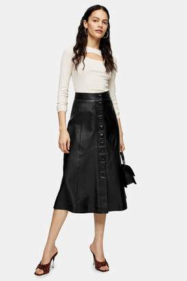 Topshop Black Leather Midi Skirt