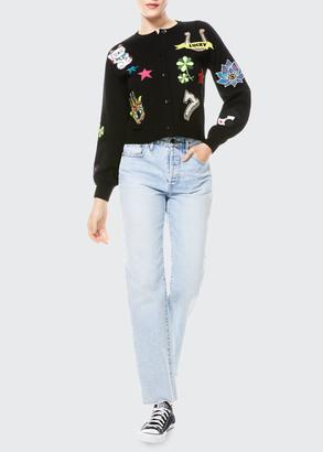 Alice + Olivia Zola Embellished Cardigan with Blouson Sleeves