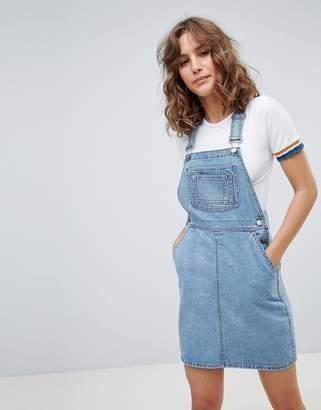 Asos Design DESIGN denim dungaree dress in vintage blue