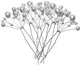 eBoot 6 Pack White Pearl Bridal Wedding Hair Pins Decorated Hairpins for Women and Girls
