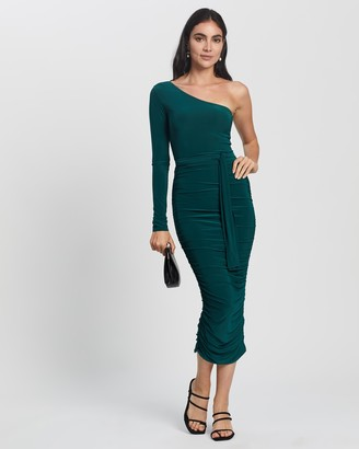 Missguided Women's Green Midi Dresses - One Shoulder Slinky Midi Dress - Size 8 at The Iconic