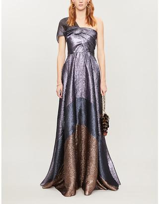 Roland Mouret Savannah contrast-panel crepe maxi dress