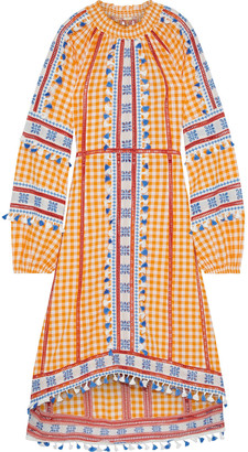 Dodo Bar Or Alexa Broderie Anglaise-trimmed Checked Cotton-gauze Midi Dress