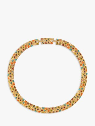 Susan Caplan Vintage 1970s D'Orlan 22ct Gold Plated Faux Pearl and Swarovski Crystal Collar Necklace, Multi