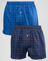 Lacoste Woven Boxers 2 Pack Print Blue
