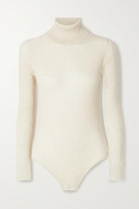 Madeleine Thompson Susan Ribbed Cashmere Turtleneck Bodysuit - Beige