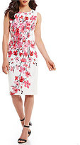 David Meister Cherry Blossom Printed Sheath Dress