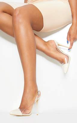 PrettyLittleThing Nude Slingback Clear Court
