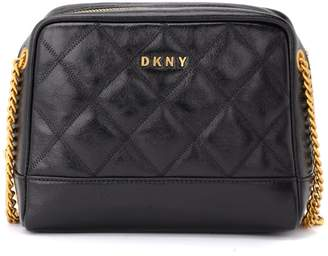 DKNY Sofia Dbl Diamond Shoulder Bag In Shiny And Quilted Black Leather