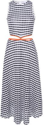 Flagpole James Striped Cotton-Blend Midi Dress Size: M