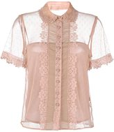 RED Valentino lace-trimmed tulle blouse - women - Polyester/Silk/Cotton - 42