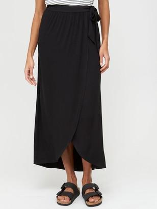 Very Petite Wrap Jersey Maxi Skirt
