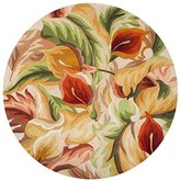 KAS Rugs CAT075856X56RO Catalina Collection Calla Lilies Round Area Rug