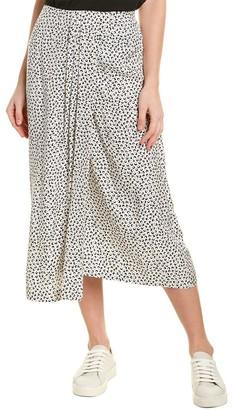 Vince Star Dot Drape Silk-Blend Midi Skirt