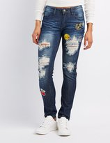 Charlotte Russe Machine Jeans Destroyed Patches Skinny Jeans