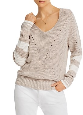 Aqua Striped-Sleeve V-Neck Sweater - 100% Exclusive