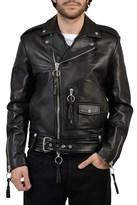 Off-White Men's Black Leather Outerwear Jacket.