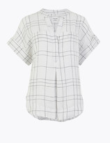 Marks and Spencer Pure Linen Checked Relaxed Popover Blouse