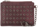 Neiman Marcus Grommet Faux-Leather Coin Pouch, Burgandy
