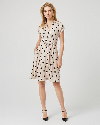 Le Château Dot Print Crepe De Chine Shirtdress
