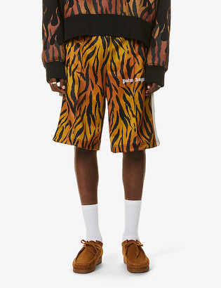 Palm Angels Tiger-print woven track shorts
