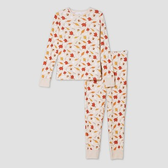 Ev Holiday Women' Leaf Print Matching Family Pajama et - Oatmeal