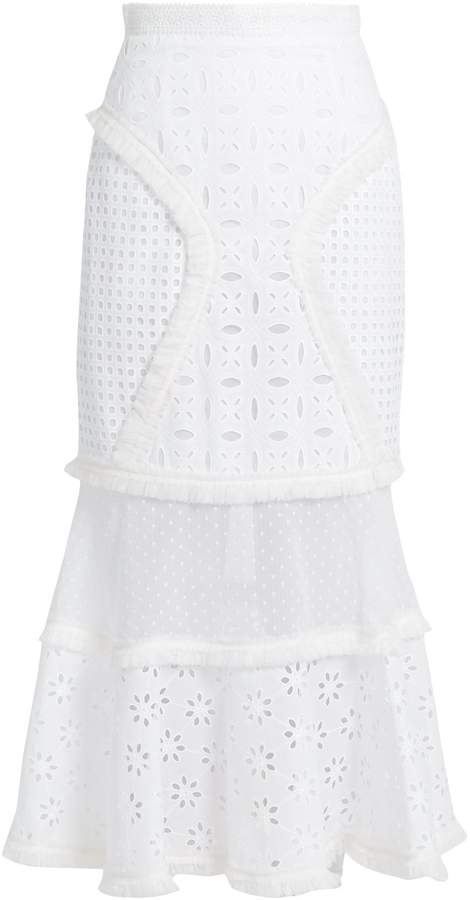 Andrew Gn Broderie-anglaise panelled cotton skirt