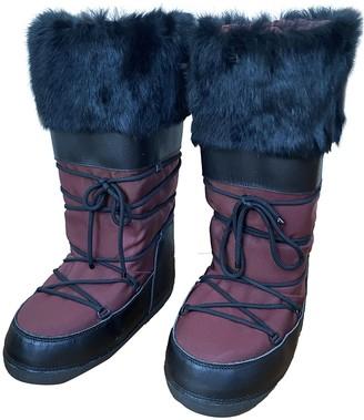 Burberry Burgundy Cloth Boots