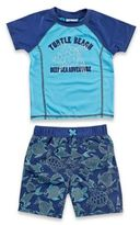Baby Buns 2-Piece Blue Turtle Rashguard Set