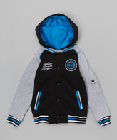 CB Sports Black & Turquoise Hooded Varsity Jacket - Boys