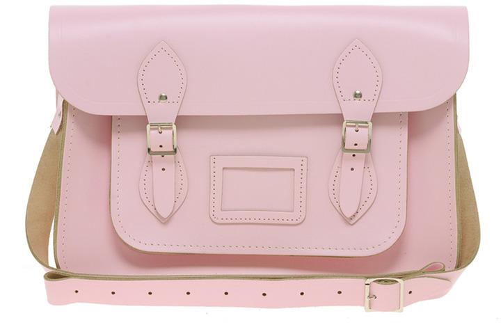 "Cambridge Silversmiths Satchel Company Baby Pink 14"" Leather Satchel"