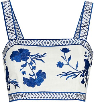 Alexis Olva Embroidered Linen Crop Top