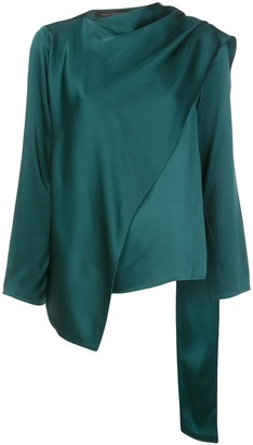 Sally LaPointe draped asymmetric blouse