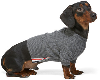 Thom Browne Grey Cashmere 4-Bar Rib Knit Dog Sweater