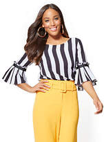 New York & Co. Flared-Cuff Blouse – Stripe