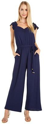 MICHAEL Michael Kors V-Flutter Sleeve Jumpsuit (True Navy) Women's Jumpsuit & Rompers One Piece