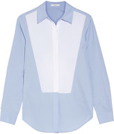 Tome Open-back Two-tone Cotton-poplin Shirt - Sky blue