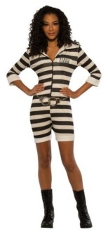 BuySeasons Women's Striped Prisoner Adult Costume