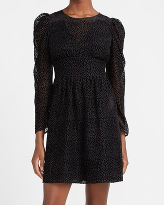 Express Velvet Puff Sleeve Fit And Flare Dress