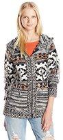 Volcom Junior's Wild Yonders Oversized Hooded Cardigan Chunky Sweater