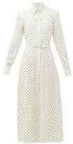 Gabriela Hearst Descartes Polka Dot Silk-twill Shirtdress - Womens - Navy White