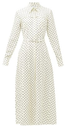 Gabriela Hearst Descartes Polka Dot Silk-twill Shirtdress - Womens - Navy White