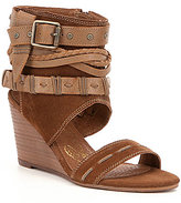 Naughty Monkey Lasalle Suede Braided Strap Hooded Wedges
