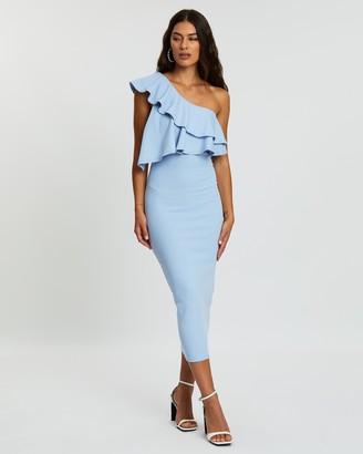 Missguided One-Shoulder Ruffle Bodycon Midi Dress