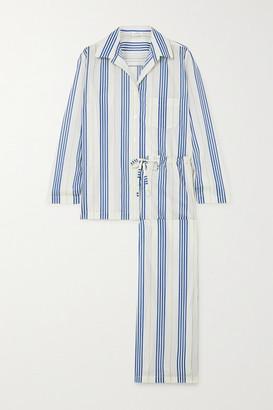 POUR LES FEMMES Striped Cotton-voile Pajama Set - Blue
