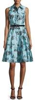 Rickie Freeman For Teri Jon Sleeveless Belted Floral Shirtdress, Blue