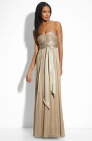 BCBGMAXAZRIA Strapless Silk Chiffon Gown