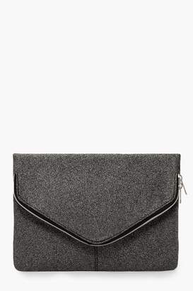 boohoo Shimmer Oversized Fold Over Clutch Bag